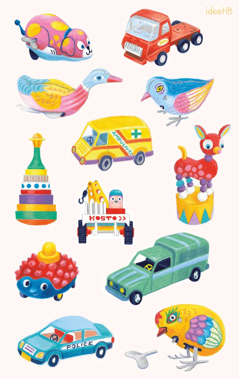 vintage toys illustration ideehb